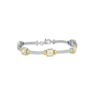 Collette Z Sterling Silver and Gold Overlay Cubic Zirconia Rectangle Bracelet - White