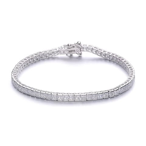 Collette Z Rhodium Overlay Square Cubic Zirconia Tennis Bracelet - White