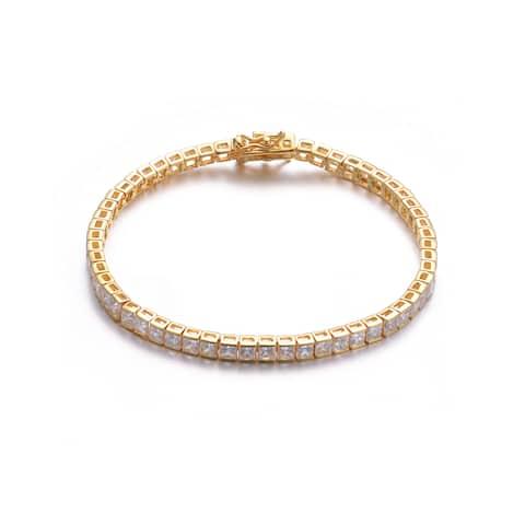 Collette Z Gold Overlay Square Cubic Zirconia Tennis Bracelet - White
