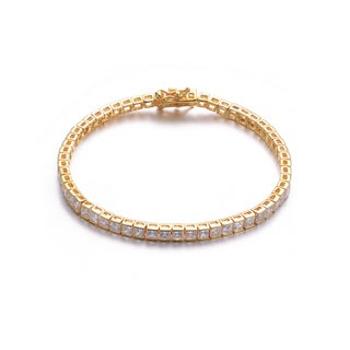 Collette Z Gold Overlay Square Cubic Zirconia Tennis Bracelet