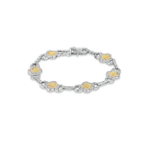 Collette Z Sterling Silver Yellow Cubic Zirconia Link Bracelet - White