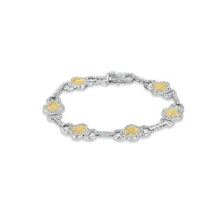 Collette Z Sterling Silver Yellow Cubic Zirconia Link Bracelet
