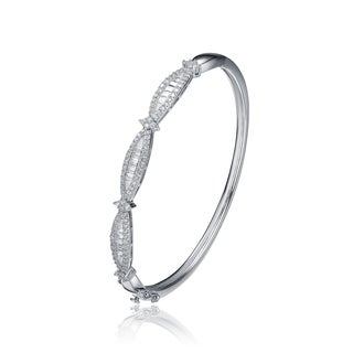 Collette Z Sterling Silver Cubic Zirconia Bracelet With Oval-Shaped Front - White