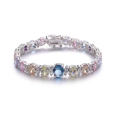 Collette Z Sterling Silver Cubic Zirconia Bracelet With Colored Stone Center - Blue