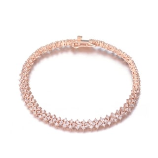 Collette Z Sterling Silver Cubic Zirconia Bracelet With Rose-Tone Metal
