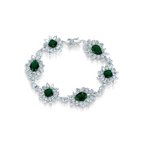 Collette Z Sterling Silver Cubic Zirconia Bracelet with Flower Motif - Green