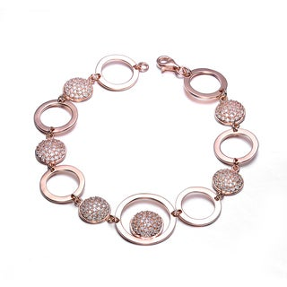 Collette Z Rose Gold Cubic Zirconia Bracelet With Connecting Circles