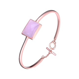 Collette Z Sterling Silver Cubic Zirconia Bracelet With Accent Piece - Pink