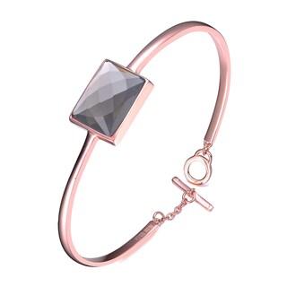 Collette Z Sterling Silver Cubic Zirconia Bracelet With Accent Piece - Black