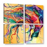 ArtWall 'Linzi Lynn's Windswept' 4-piece Gallery Wrapped Canvas Square Set - Orange