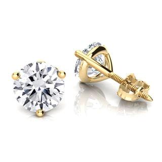 Luxurman 14k Gold 1/4ct TDW Solitaire Round Diamond Martini Stud Earrings (H-I, SI1-SI2)