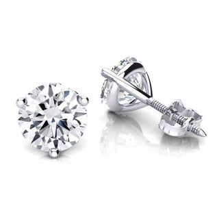 Luxurman 14k Gold 1/4ct TDW Solitaire Round Diamond Martini Stud Earrings (H-I, SI1-SI2)