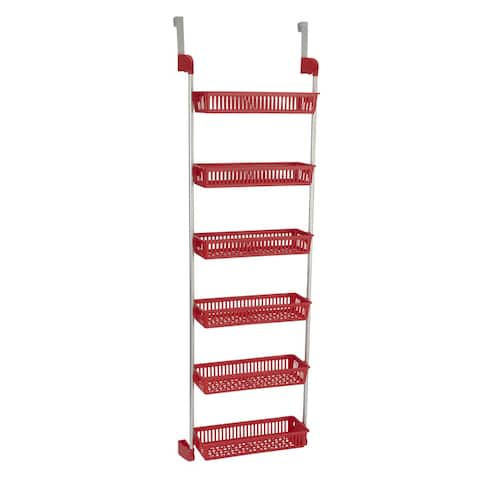 Household Essentials Metal/Plastic 6-basket Over-the-door Organizer