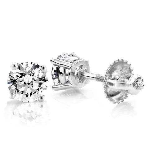 Luxurman Platinum 1ct TDW Diamond Studs Earrings