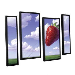ArtWall 'Jerry Lofaro's Strawberry Field' 4-piece Floater Framed Canvas Staggered Set