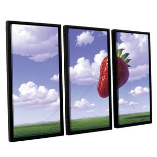 ArtWall 'Jerry Lofaro's Strawberry Field' 3-piece Floater Framed Canvas Set