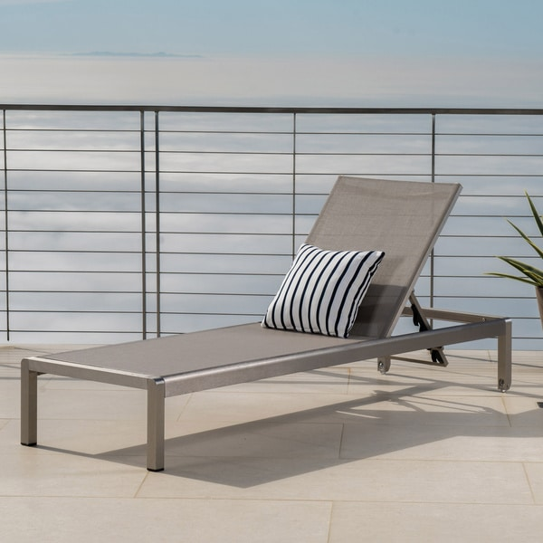 Cape Coral Outdoor Aluminum Adjustable Chaise Lounge by Christopher Knight Home. Opens flyout.