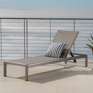 Cape Coral Outdoor Aluminum Adjustable Chaise Lounge by Christopher Knight Home