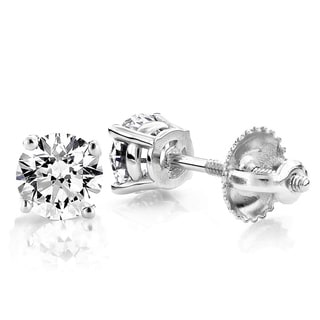 Luxurman Platinum 3/4ct TDW Diamond Studs Earrings (G-H, VS1-VS2 )