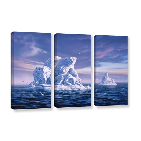 ArtWall 'Jerry Lofaro's Iceberg' 3-piece Gallery Wrapped Canvas Set - Multi