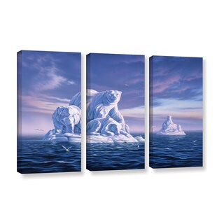 ArtWall 'Jerry Lofaro's Iceberg' 3-piece Gallery Wrapped Canvas Set