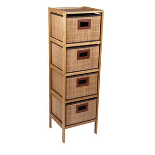 Household Essentials Bamboo 4-Drawer Storage Tower, Natural