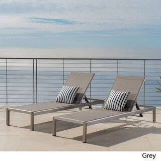 Cape Coral Outdoor Aluminum Adjustable Chaise Lounge (Set of 2) by Christopher Knight Home (2 options available)