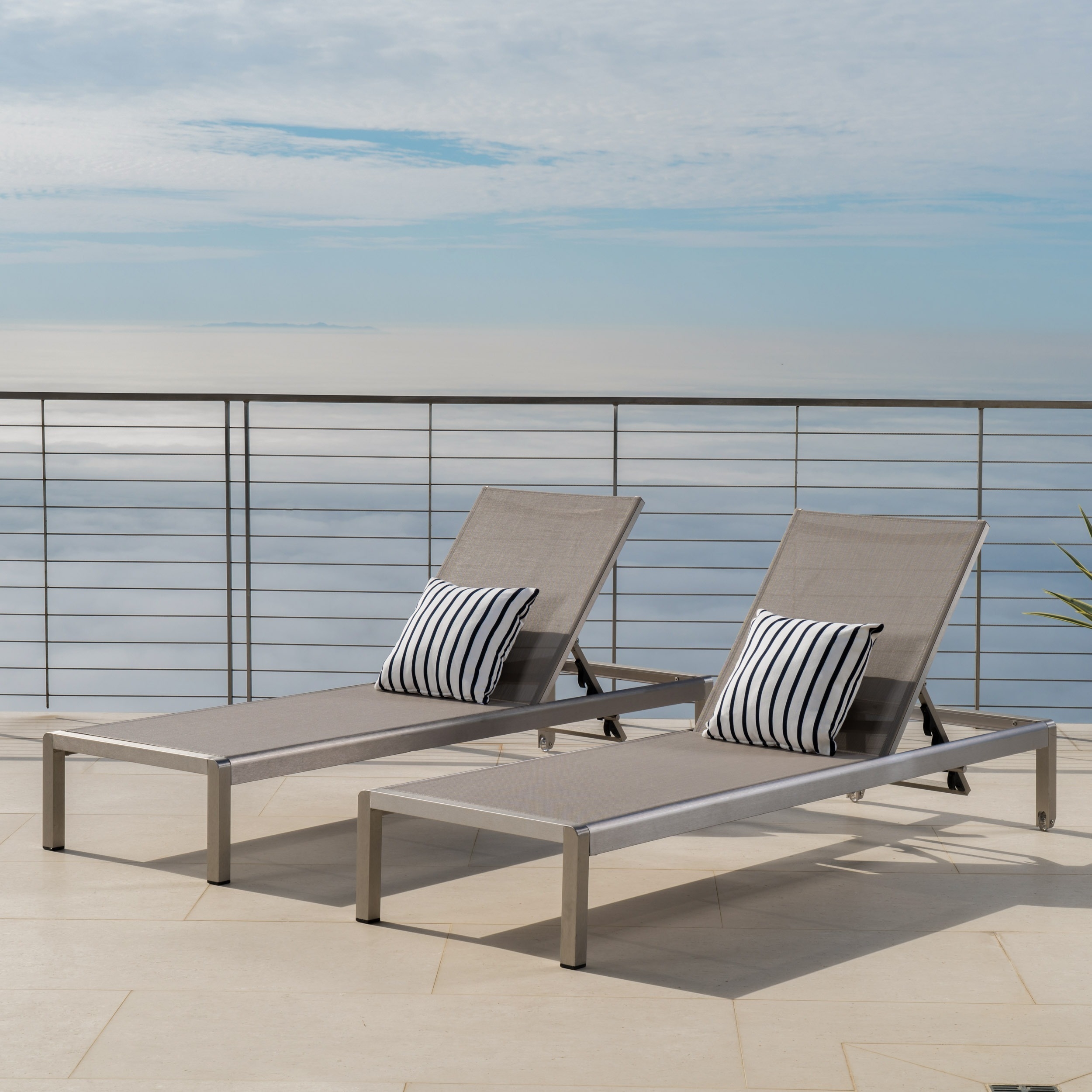 Outdoor Grey Aluminum Chaise Lounge with Dark Grey Mesh Seat Crested Bay Patio Furniture