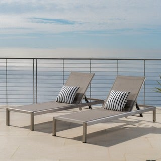 Cape Coral Outdoor Aluminum Adjustable Chaise Lounge (Set of 2) by Christopher Knight Home