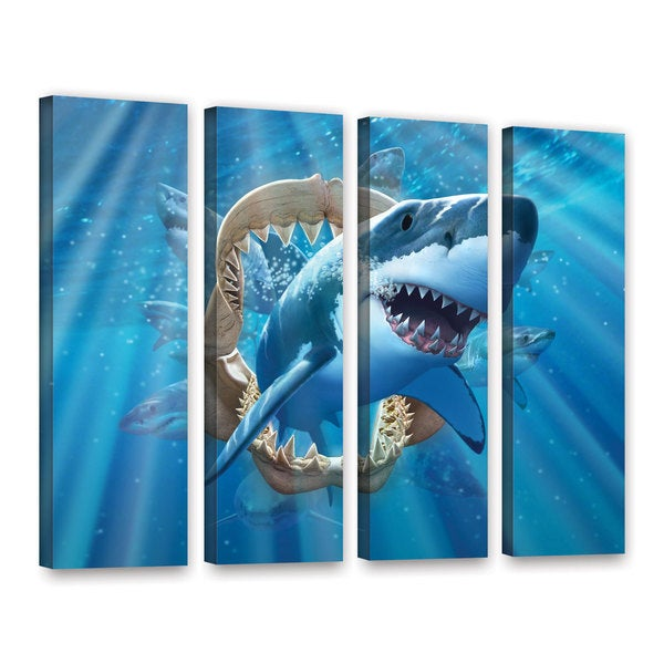 ArtWall 'Jerry Lofaro's Great White Shark' 4-piece Gallery Wrapped Canvas Set