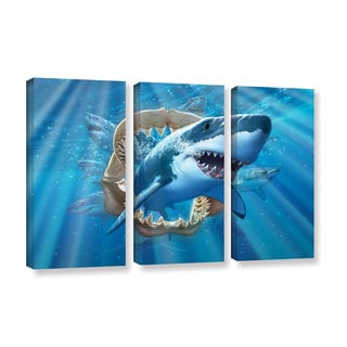 ArtWall 'Jerry Lofaro's Great White Shark' 3-piece Gallery Wrapped Canvas Set