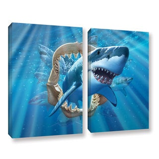 ArtWall 'Jerry Lofaro's Great White Shark' 2-piece Gallery Wrapped Canvas Set