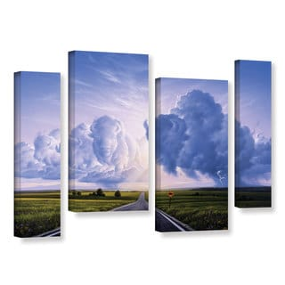 ArtWall 'Jerry Lofaro's Buffalo Crossing' 4-piece Gallery Wrapped Canvas Staggered Set
