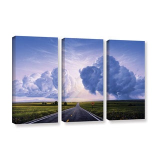 ArtWall 'Jerry Lofaro's Buffalo Crossing' 3-piece Gallery Wrapped Canvas Set