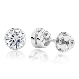 Luxurman 18k Gold 1/4ct TDW Solitaire Round Diamond Bezel Stud Earrings (H-I, SI1-SI2)