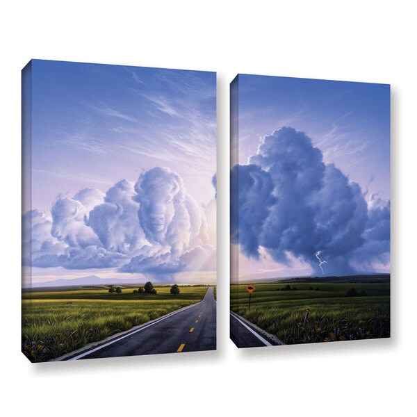 ArtWall 'Jerry Lofaro's Buffalo Crossing' 2-piece Gallery Wrapped Canvas Set