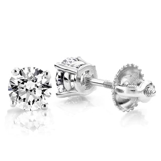 Luxurman Platinum 1/4ct TDW Solitaire Round Diamond Stud Earrings (G-H, VS1-VS2 )