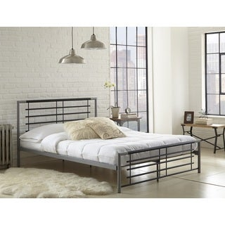 Sleep Sync Kenmore Silver and Black Metal Platform Bed