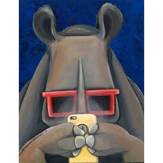 Marmont Hill - The Rhino by Amanda Oleander Painting Print on Canvas