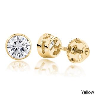Luxurman 14k Gold 1/2ct TDW Diamond Bezel Stud Earrings (H-I, SI1-SI2)