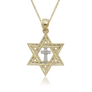 14k Two-tone Gold Diamond-cut Star of David Cross 16-inch Gold-filled Chain Necklace - Yellow