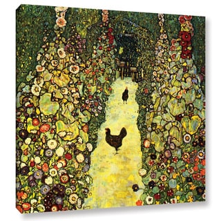 ArtWall 'Gustav Klimt's Path with Chicken' Gallery Wrapped Canvas