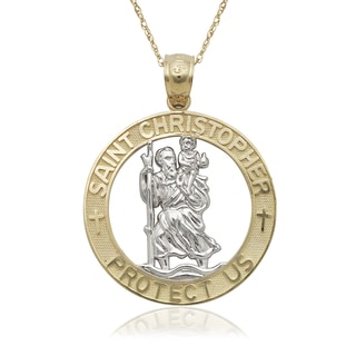 14k Two-tone Gold St. Christopher Circle Pendant 16-inch Necklace