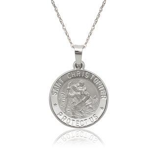14k White Gold St. Christopher Medal 16-inch Gold-filled Chain Necklace