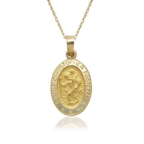 14k Yellow Gold Oval St. Christopher Medal 16-inch Gold-filled Chain Necklace