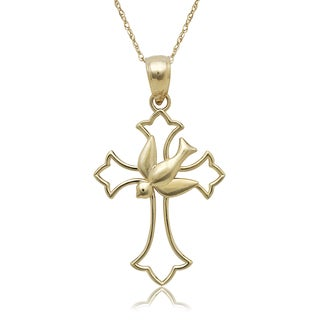 14k Yellow Gold Dove Cross Pendant 16-inch Gold-filled Chain Necklace