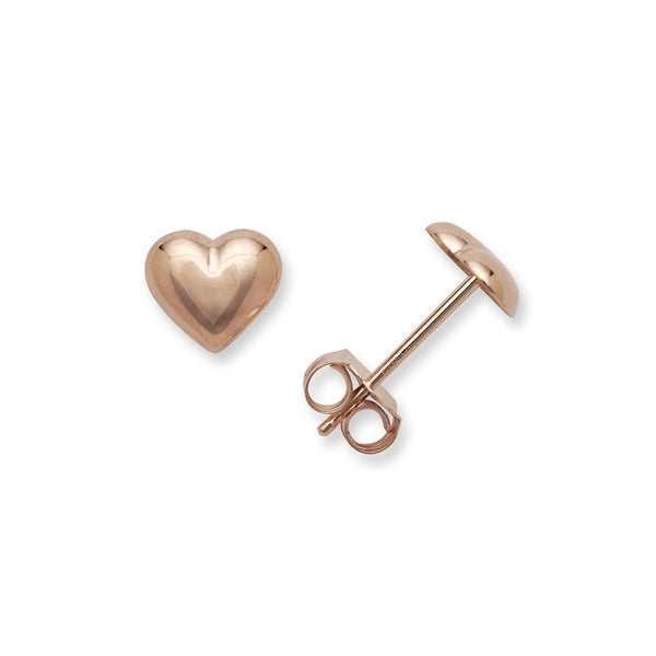 d12907eba Shop 14k Rose Gold Heart Post Earrings - Red - On Sale - Free ...