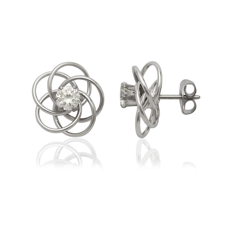 Sterling Silver 4mm x 34 Hoop Earrings and a pair of 4mm CZ Stud Earrings