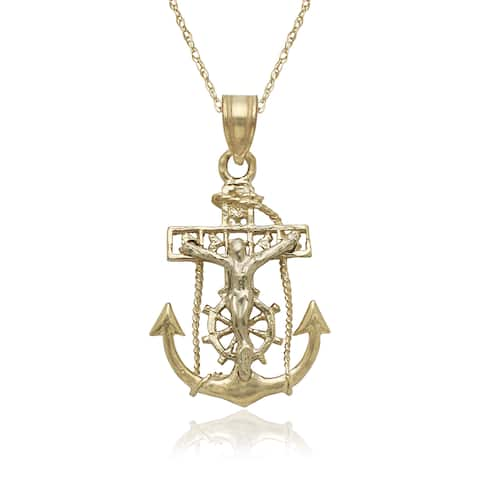 14k Two-tone Gold Mariners Cross Pendant 16-inch Gold-filled Chain Necklace - Yellow