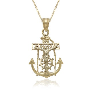 14k Two-tone Gold Mariners Cross Pendant 16-inch Gold-filled Chain Necklace